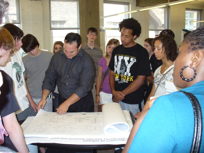 Ross Barney Architects | Jonathan showing the students a sample drawing set.