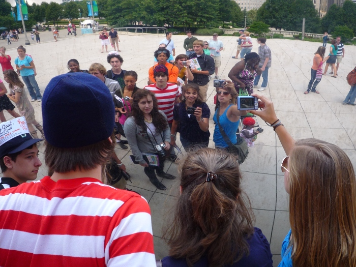 "Millennium Park with Professor Barbara Geiger | Students at ""Cloud Gate"" (aka ""The Bean"")"