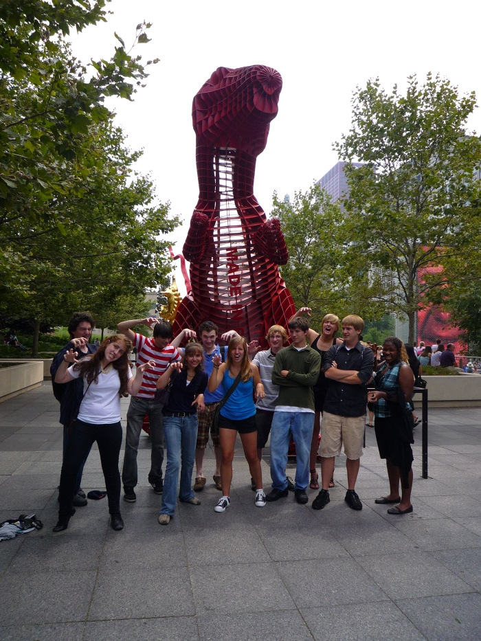 "Millennium Park | Students and T-Rex ""Made in China"""
