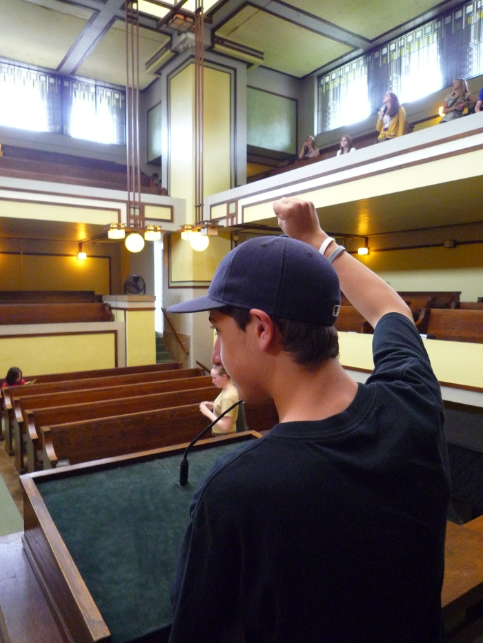 Unity Temple | Peter practicing his lecture.